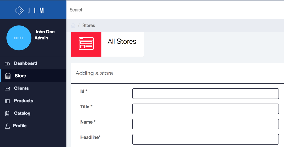 A sample Store page